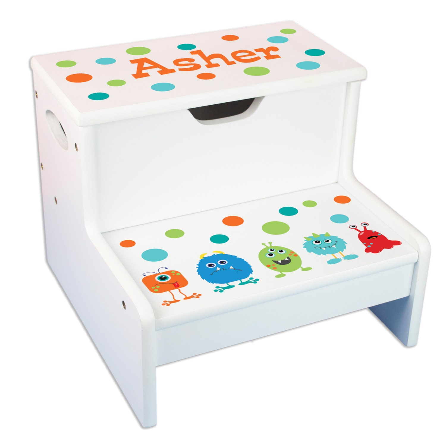 Kids Personalized Monster Step Stool With Storage Your Little