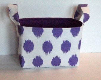 Storage & Organization, Fabric Bin Basket, Container Organizer, Fabric Storage Basket, Car Organizer, Purple  and White, Ready To Ship