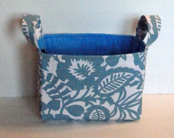 Storage & Organization, Fabric Bin Basket, Container Organizer, Fabric Storage Basket, Car Organizer, Blue Floral Print, Ready To Ship