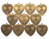 ONE vintage etched brass heart, double heart charm, bound hearts, heart charms, jewelry supply, two sided charm from Elizabeth Rosen