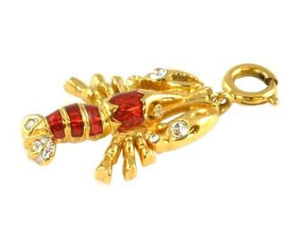 Nolan Miller Lobster Charm with Red Enamel and Rhinestones, Gold Tone Maine Lobster Souvenir, Cape Cod Souvenir - Vintage Charm for Bracelet