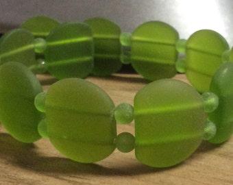 Sea Glass Double Hole Bead Olive 21mm x 17mm Oval 1 Strand