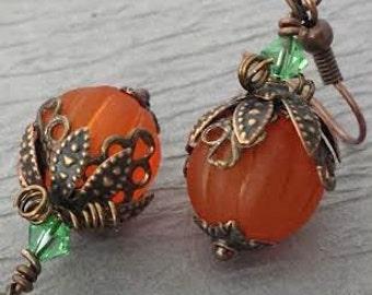 Pumpkin Earrings Halloween Earrings Copper Fall Earrings Holiday Earrings Thanksgiving Earrings Holiday Jewelry Lucite Pumpkin Teacher Gift