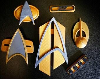 Star Trek 3D Printed Badges and Pips Communicator