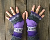 Arm Warmers Made From Recycled Sweaters, Fingerless Gloves, Purple Hand Warmers, Upcycled Accessories