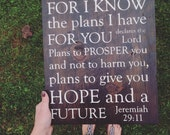 Jeremiah 29 11. Painted on reclaimed barn wood.