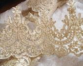 gold cord lace trim, gold alencon lace trim, vintage style lace