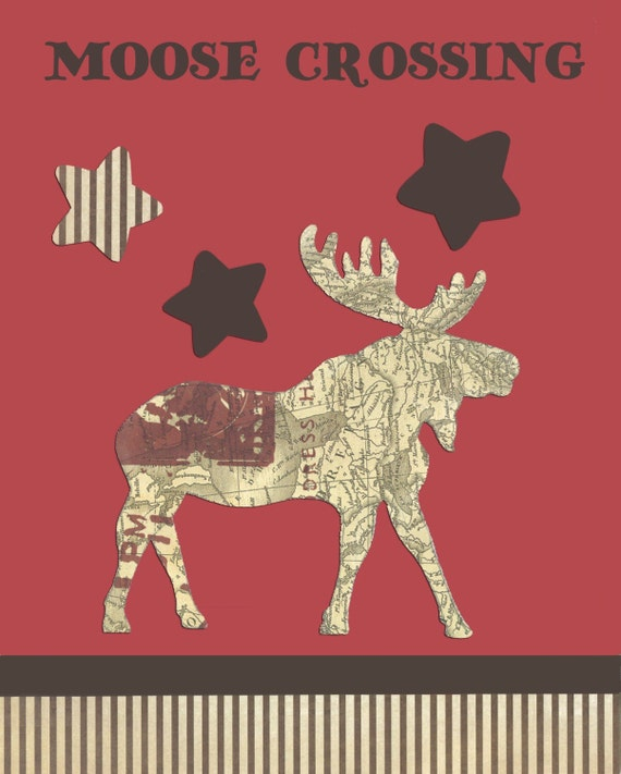 Woodland Nursery, forest animal prints, Moose Wall Art, Vintage style, Christmas decor, shabby chic baby room, rustic home decor, Moose art