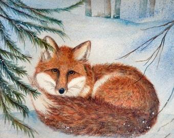 "Original watercolor Fox, 16x13"", dlrs89.00"