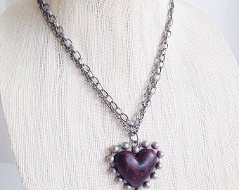 Cold Hearted Pendant Necklace Anti Valentines Day Statement Necklace