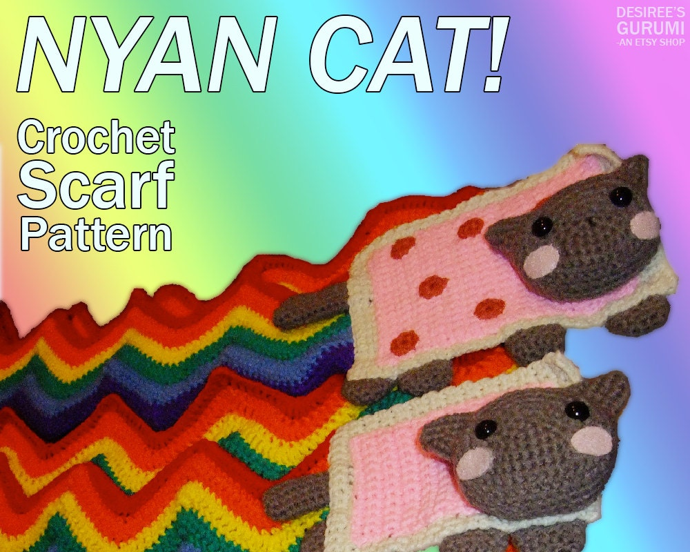 Nyan Cat / Pop Tart Cat Scarf Crochet Pattern Beginners