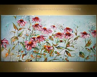 Summer Daisies - ORIGINAL flowers Oil Painting by Paula Nizamas Light Spring Colors