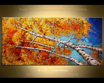 Abstract Birch Painting 48 inches Oil on Canvas | Landscape Autumn Painting| Birch forest painting| Abstract Modern Painting by Nizamas| Art