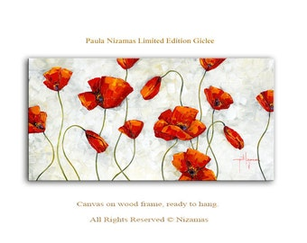 Abstract Art Giclee Print on canvas Interior Decor P Nizamas Red Poppies ready to hang