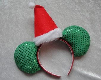 Santa Hat Sparkly Mickey Ears