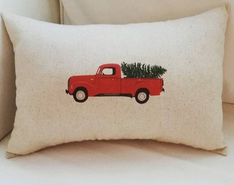 Christmas Pillow, Truck with Tree, Woody Car, Holiday Home Decor, Red, Green Cushion, Vintage Truck, Christmas decor, Festive Home Decor