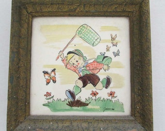 Antique Bohemia Moravia tile hand painted child decoration boy chasing butterfly VI-42 nursery decor