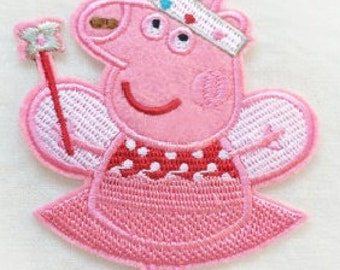 Peppa Pig Iron On Patch - Embroidered Peppa Pig Applique - Ready to Ship