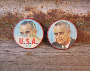 PRICE PER BUTTON Vintage lbj Lyndon B Johnson Presidential Election Campaign Button Red Rim Political Pin 1960s Vari-Vue Flasher Button Pin