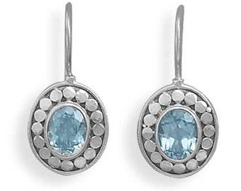 Sterling Silver Oxidized Blue Topaz Gemstone Earrings