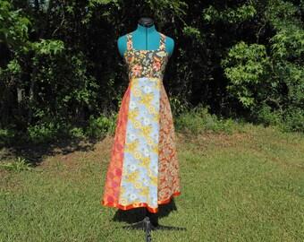 Sunset Flowers Tie Dye Hippie Corset Back Festival Dress -Small #516
