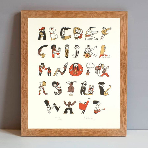 Musical Alphabet Gift Print, Music Lovers Gift Print, Alphabet Art, Music Illustrated Screenprint