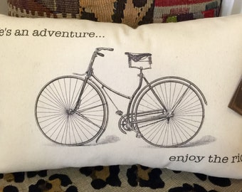 "Vintage Bicycle Pillow ""Life is sn adventure... Enjoy the ride."""