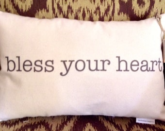 "Decorative ""Bless Your Heart"" Pillow"