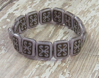 Purple Rectangle Bead 12x11mm Czech Glass Carved Brown ARTIFACT (6)