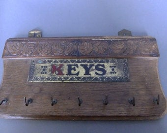 vintage wood key holder, rustic, vintage key rack