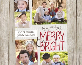 Photo Christmas Card/Merry & Bright/5 photo