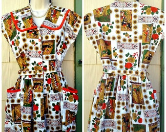 Vintage 1940s 1950s Orange White Gold Sunflower Asian Novelty Print New Old Stock House Dress Belt Rockabilly VLV Extra Small Small XS