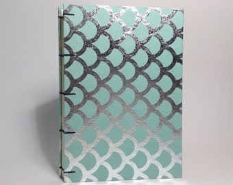 Blue & Silver Mermaid Journal - Lined Pages