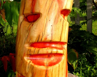 """Halloween  Mask Wood Carving,Gil Man, Spalted Maple Red Wood 12"""" h X 6""""w X6"""" deep Free  Shipping  in  USA/,Weird Funky Flame Red Eyed Goth"""