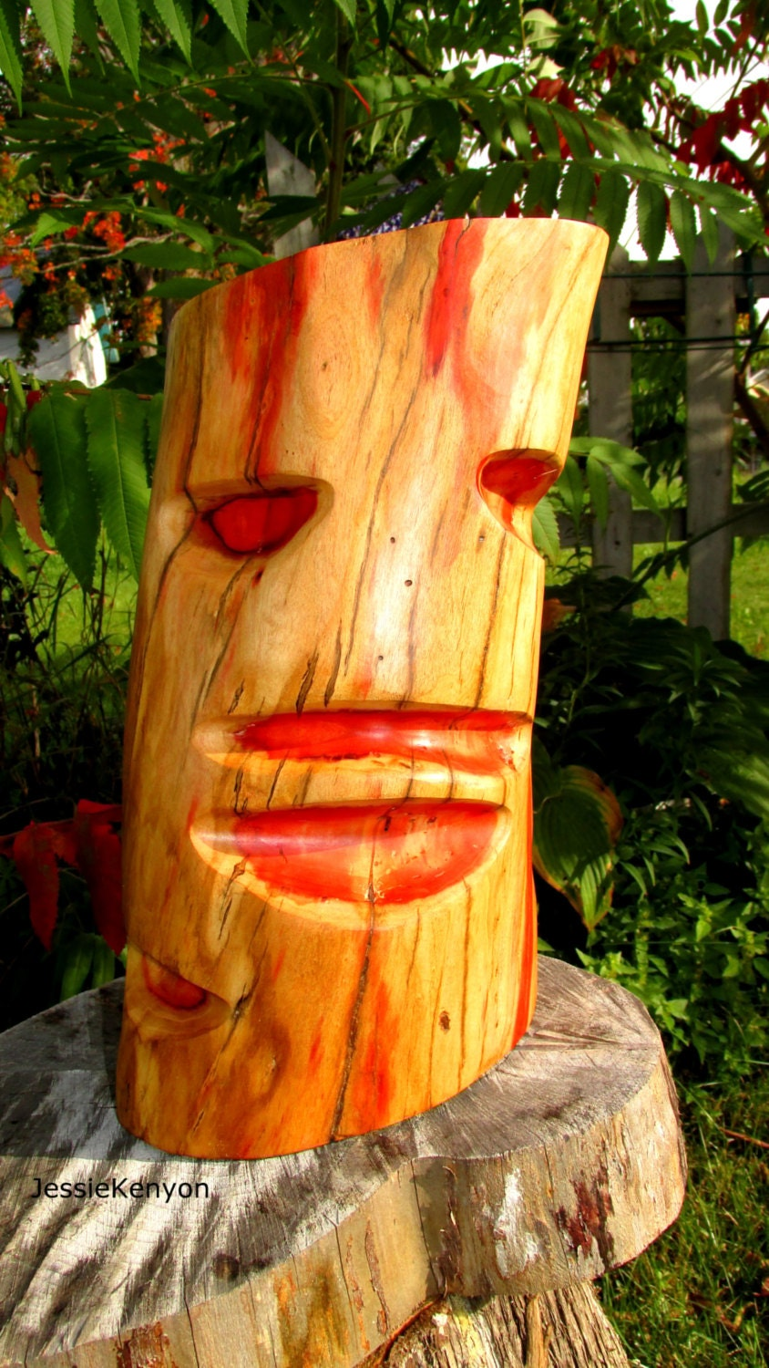 Halloween mask wood carvinggil man spalted maple by