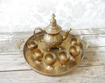 Turkish Teapot, with Small Brass Cup set, six cups and tray, Egyptian, Arabic, Middle East, Persian