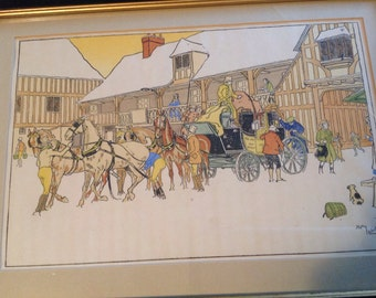 Vintage Artwork, Pen and Ink by Harry Eliott, c 1940's, Watercolor Litho under glass, listed artist