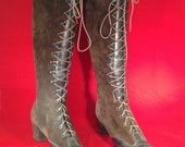 1960's Lace-Up Woodstock Suede Knee High Boots Size 8