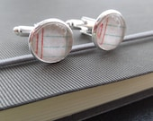 Accountants Silver cuff links - men's gifts - ladies cuff links - Ledger, Bookkeeper's cuff links - glass topped round cuff links