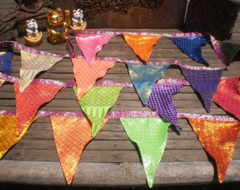 Tribal Textile Bunting, Thai Skirt Textile Bunting, Bright Happy Bunting,Party Bunting, Disco Bunting