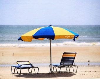 Blue and Yellow Beach Umbrella Photo, Lounge Chairs Florida Photography, Tropical Coastal Beach House Home Decor Wall Art, Travel Art