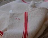 French Antique Linen, Monogramed Linen Tea Towels, Country French Decor, Monogramed linen, initials P. L.