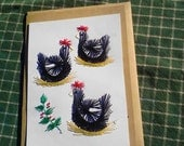Three French Hens, Hand Stitched Christmas Card
