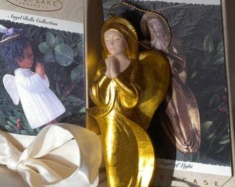 Hallmark Keepsake Showcase Ornaments - Angel Bells - Porcelain - Noelle- 1995 and Angel of Light