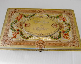 "Vintage Tin - Artstyle Chocolate Candy Tin/Hinged Candy Tin ""With Love to Mother""  with Cherubs Tin - circa 1920s-30s"