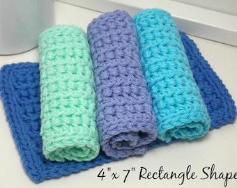 Hand Crochet Dishcloths - Ocean - Environmentally Friendly Kitchen - Cotton Dishcloths