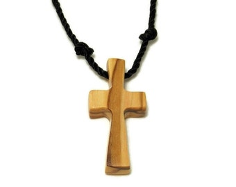 Bethlehem Olive Cross Necklace, Holy Land Olive Wood, Simple Cross Pendant, Cross Necklace, Gifts Under 20