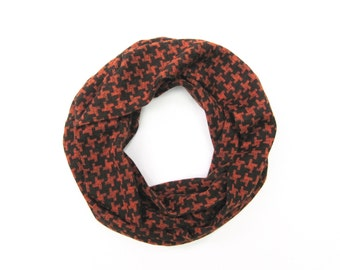Kids Scarf Houndstooth Scarf Toddler Scarf Black Burnt Orange Child's Scarf Girls Scarf Boys Scarf Gift Idea Ready To Ship