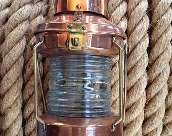 Copper Lantern, Vintage, Beach Decor, Nautical, Restored by SEASTYLE