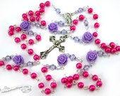 Pink Purple Rosary first communion gift confirmation rosary Baptism Gift catholic rosary girls rosaries rosary necklace pink rosary gift